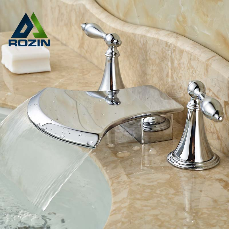 Deck Mount Chrome Finish New Design Basin Mixer Taps Two Handles Countertop Water Faucet