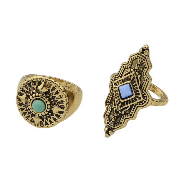 Knight ring set with stones. Antique gold color