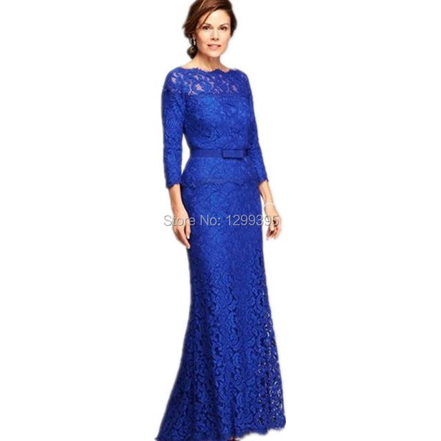 Long Mermaid Royal Blue Lace Mother Of The Bride Dress With Three Quarter Sleeves Prom Evening
