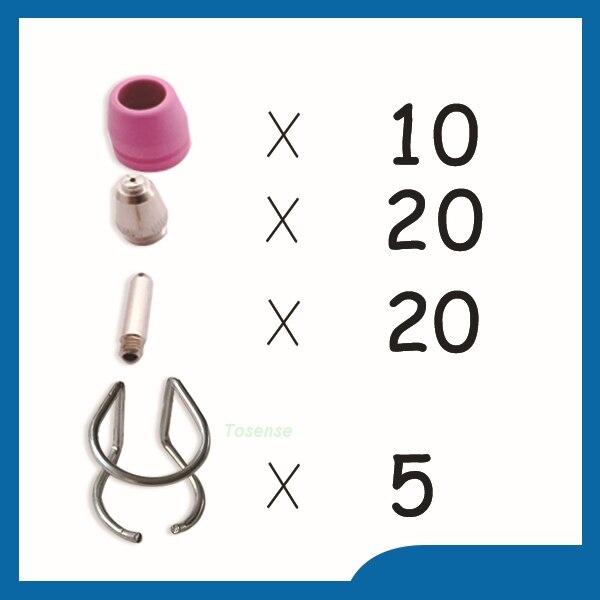 Good quality and low prices P60 Consumables KIT plasma nozzle Plasma Nozzles Accessories TIPS 1.2 & 60Amp, 55pcs