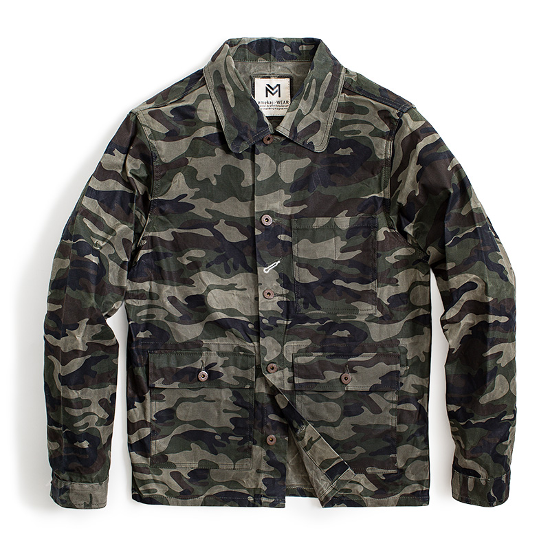 MADEN Men 39 s Camo Waxed Canvas Cotton Military Jacket Work Trucker Jacket in Jackets from Men 39 s Clothing