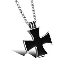 Unisex Black Cross Classical Stainless Steel Pendant Necklaces Women Men Religious 316L Link Chain Jewelry Gift