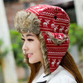Red Russian Fur Bomber Hats For Women 2015 New Knitted Hat Flowers Design Thicking Ear Protection Winter Hats Cap Wholesale