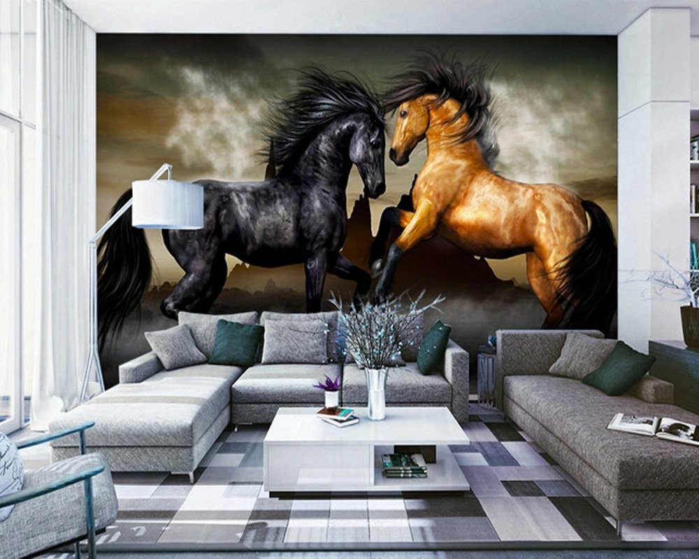 Custom horse wallpaper 3D, oil painting horse for the living room bedroom TV background wall waterproof textile papel de parede custom retro wallpaper 3d wood texture against true wall painting for bedroom living room kitchen wall waterproof pvc wallpaper