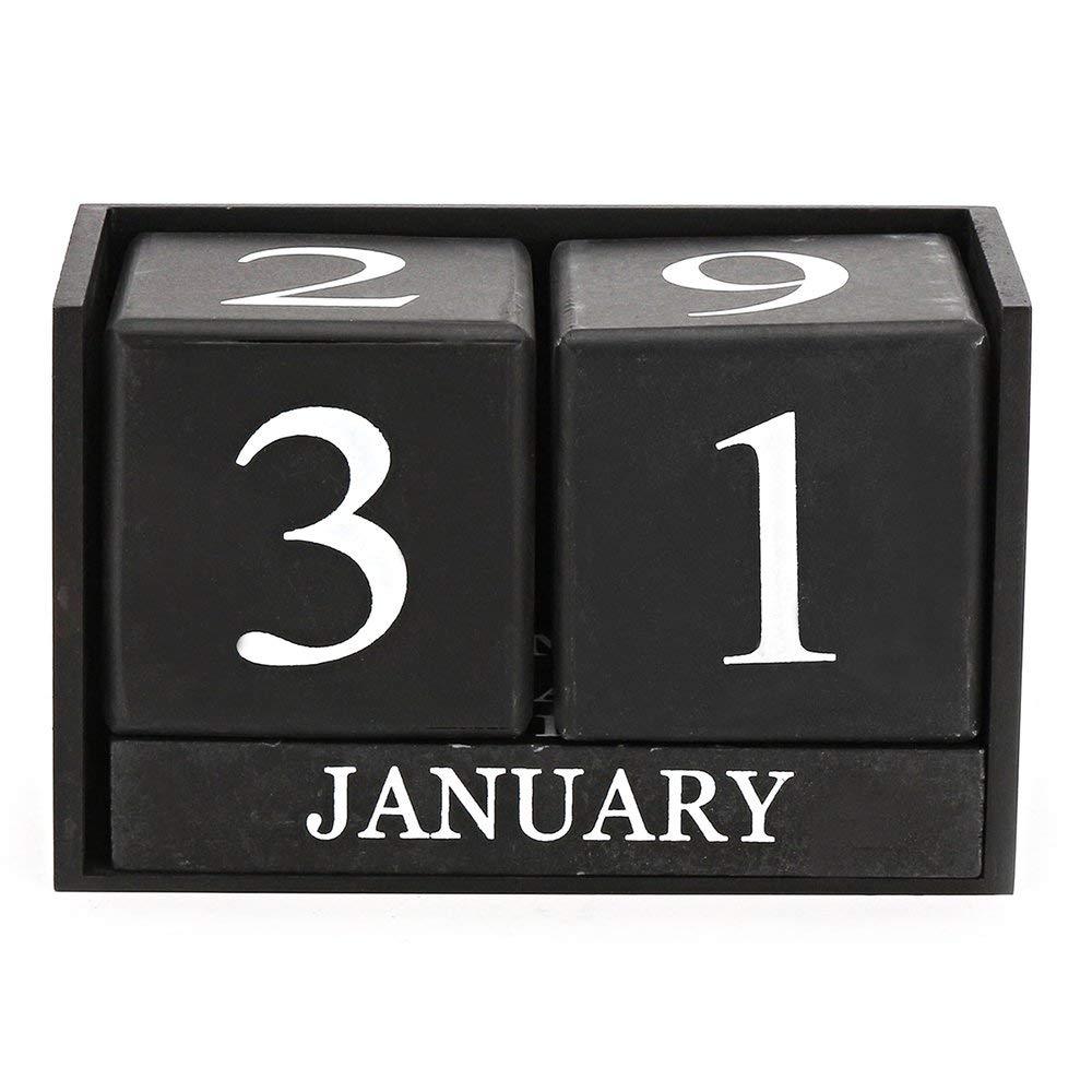 Mylifeunit Holz Perpetual Kalender Schreibtisch Rustikalen Holz Würfel Kalender Block Stand Geschickte Herstellung schwarz