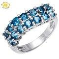 Hutang Londres Topacio Azul Genuino Esterlina del Sólido 925 de Plata de la Piedra Preciosa Joyería Fina Anillo de Racimo