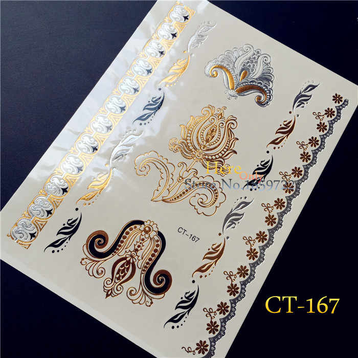 25 Style Beautiful Flash Gold Sliver blossom tattoo sticker CT-167 Imitation Big Flower Jewelry Taty Temporary Fake MakeUp Paste