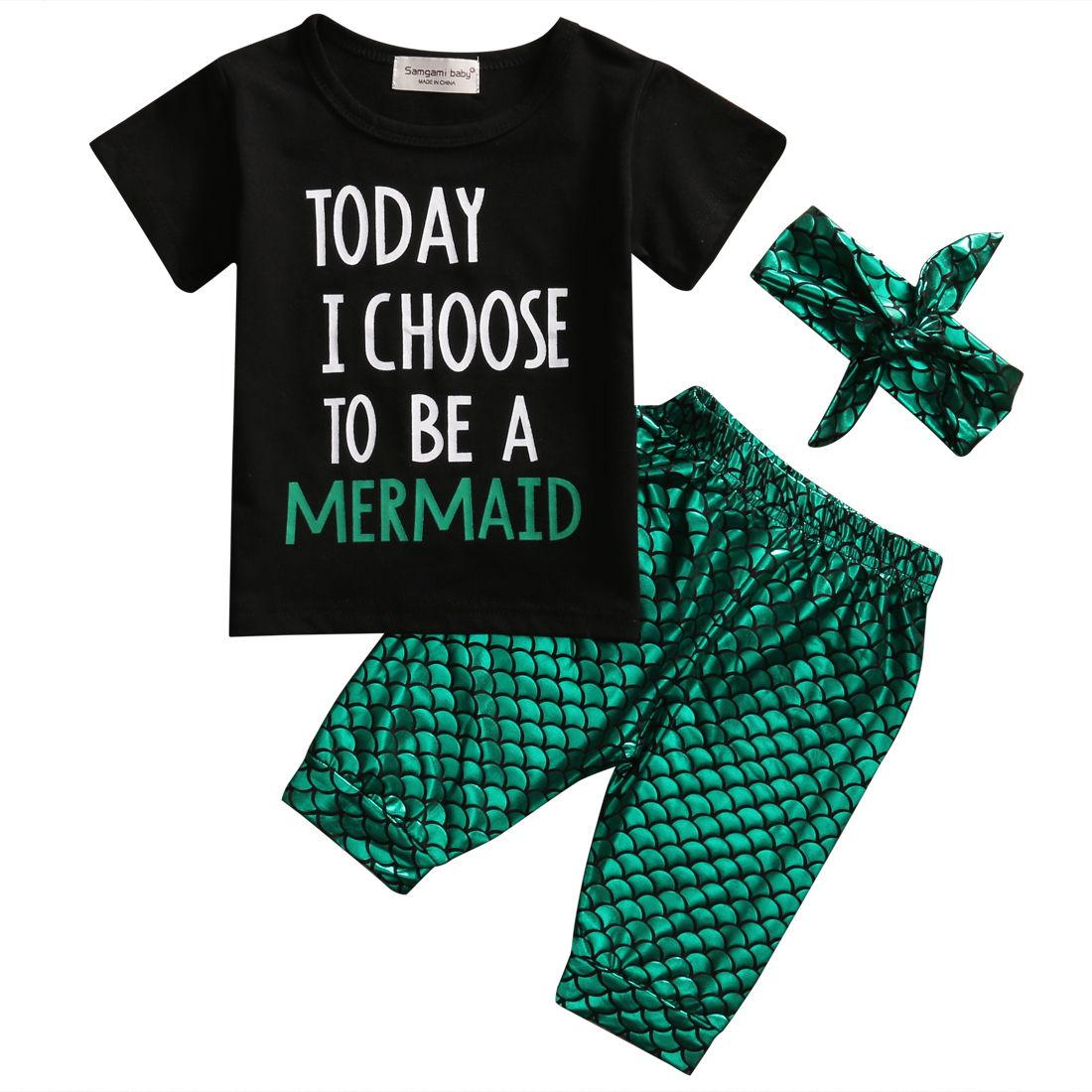 Mermaid Toddler Baby Kids Girl Clothes Set Short Sleeve Tops T-Shirts Shorts Headband 3pcs Outfits Set Clothing Girl 1-6Y ecco ecco mp002xw00j3y