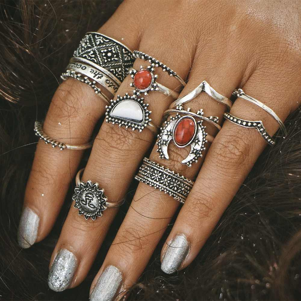 14PCS/Set Fashion Women Bohemian Style Vintage Anti Punk Rings Sun Moon Lucky Rings Set Women Party Jewelry