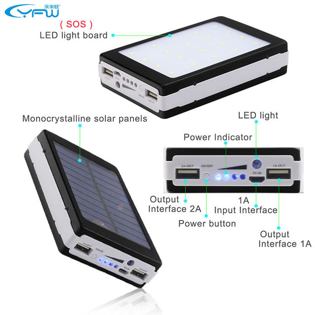 YFW Solar Power Bank External Battery 18650 Poverbank Charger 12000mAh with 20 Pieces LED Lamps for Smart Mobile Phones