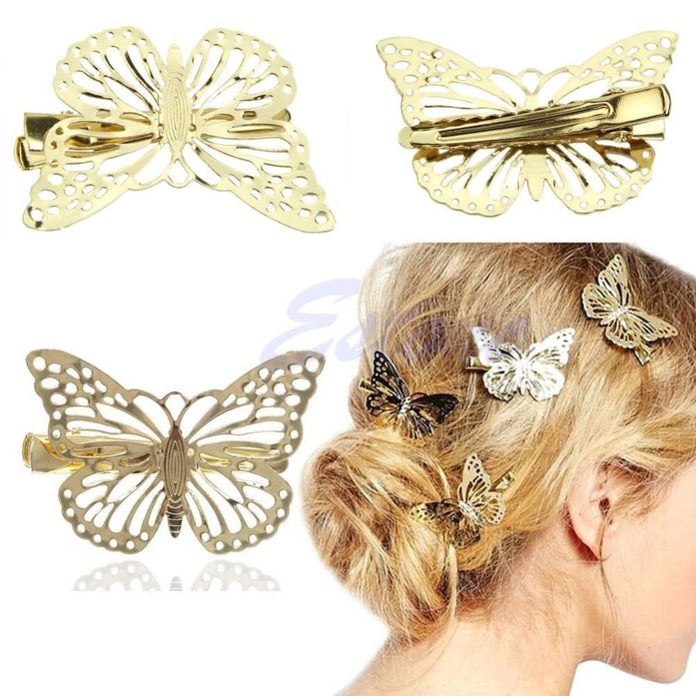Hot Women Shiny Golden Butterfly Hair Clip Headband Hairpin Accessory Headpiece