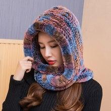 ZDFURS * mujeres 2018 tejida auténtica gorro de piel de conejo Rex bufanda con capucha largo invierno cálido sombrero de piel con cuello bufandas