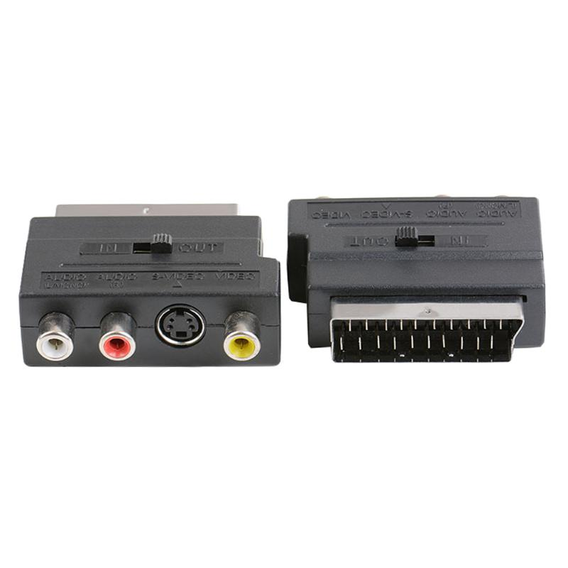 ALLOYSEED Universal 21Pin SCART Port to RCA A/V + S-Video Port Converter Adapter for most EU plug TV or Video Output Devices