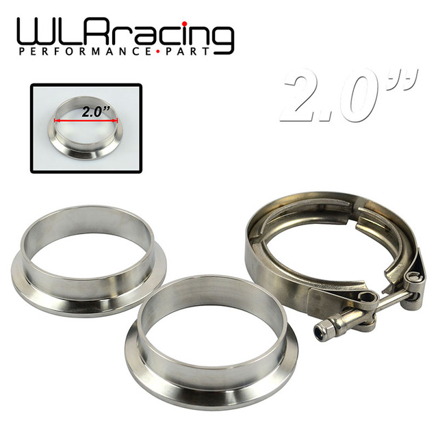"WLR STORE-  2""  V- Band clamp flange Kit (Stainless Steel 304 Clamp+SUS304 Flange) For turbo exhaust downpipe"
