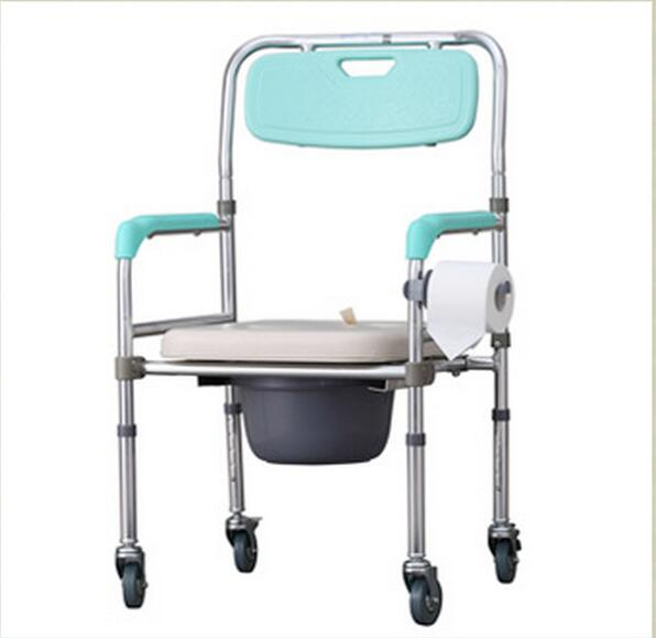 цена LM1156 Portable Mobile toilet chairs Height-Adjustable Folding Elderly Seat Commode Chair With wheels