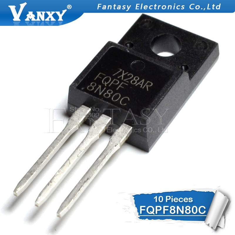 10PCS FQPF8N80C TO-220F 8N80C 8N80 TO-220 FQPF8N80 TO220 New MOS FET Transistor