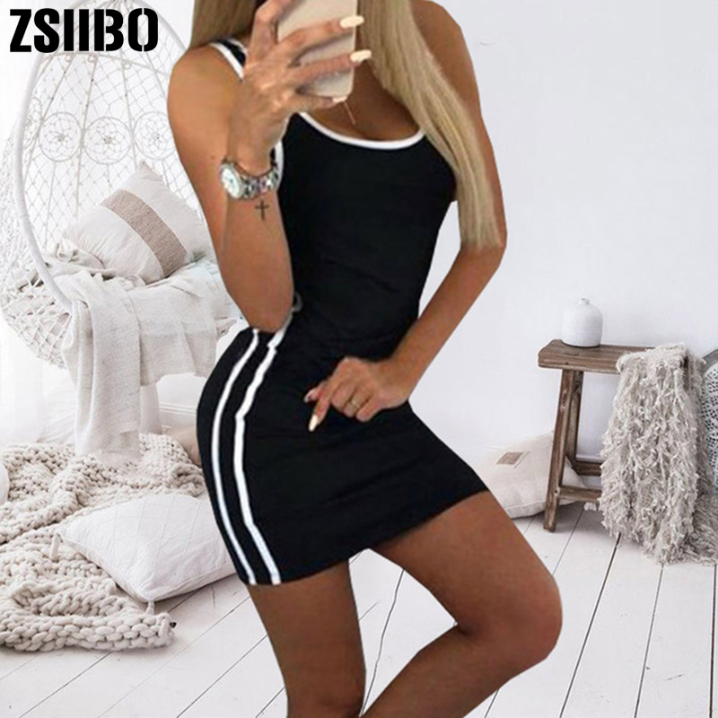 ZSIIBO Sexy Club Clothes Black Gary Sleeveless Bodycon Mini Paty Dress Summer Plus Size Female Dresses Vestidos drop shipping