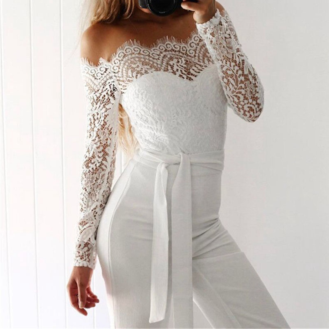 2018 Sexy Summer Fashion Off Shoulder Women Jumpsuits Lace Long Sleeve Flare Pants Rompers Elegant Ladies Bow Bodysuit Bodycon