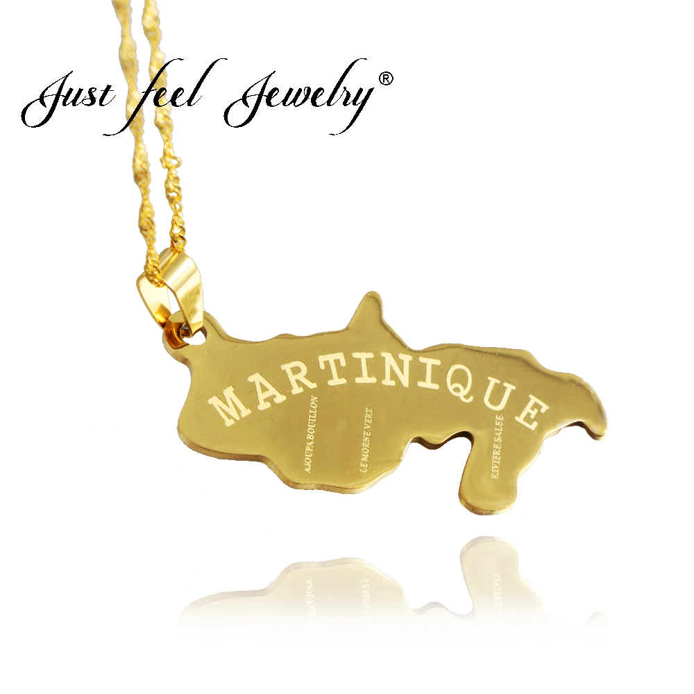 JUST FEEL French Martinique Map Pendant Necklace Gold Color Chain Necklaces for Women/Men Caribbean Sea Jewelry Patriotic Gifts