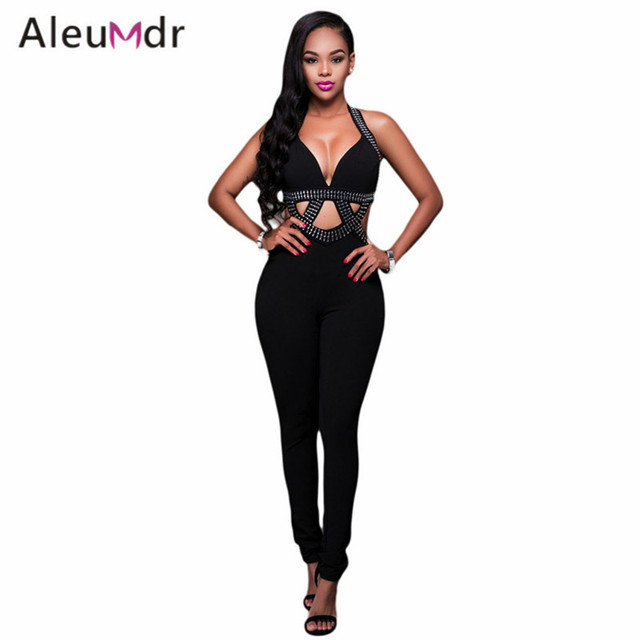 1c7998b76634 Aleumdr Ladies Sexy Sleeveless V-Neck Overalls Trendy Elegant Rompers  Womens Jumpsuit LC64210 Combinaison Pantalon