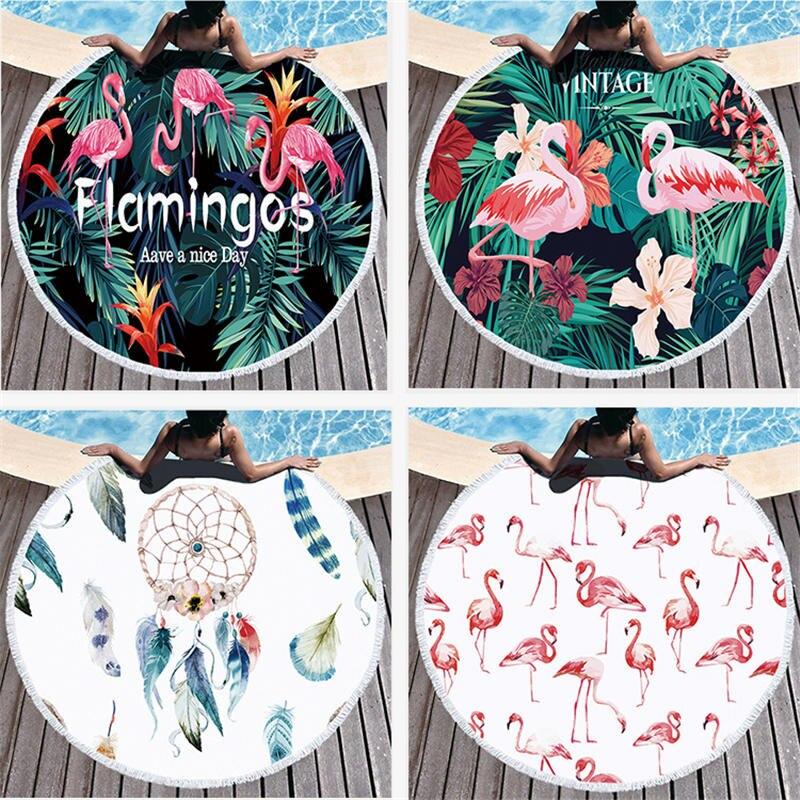 Hoge Kwaliteit Ronde Strandlaken Met Flamingo Gedrukt Microfiber 150 Cm Voor Zomer Zwemmen Picknick Tapijt Deken Gt-071 Prijsafspraken Volgens Kwaliteit Van Producten
