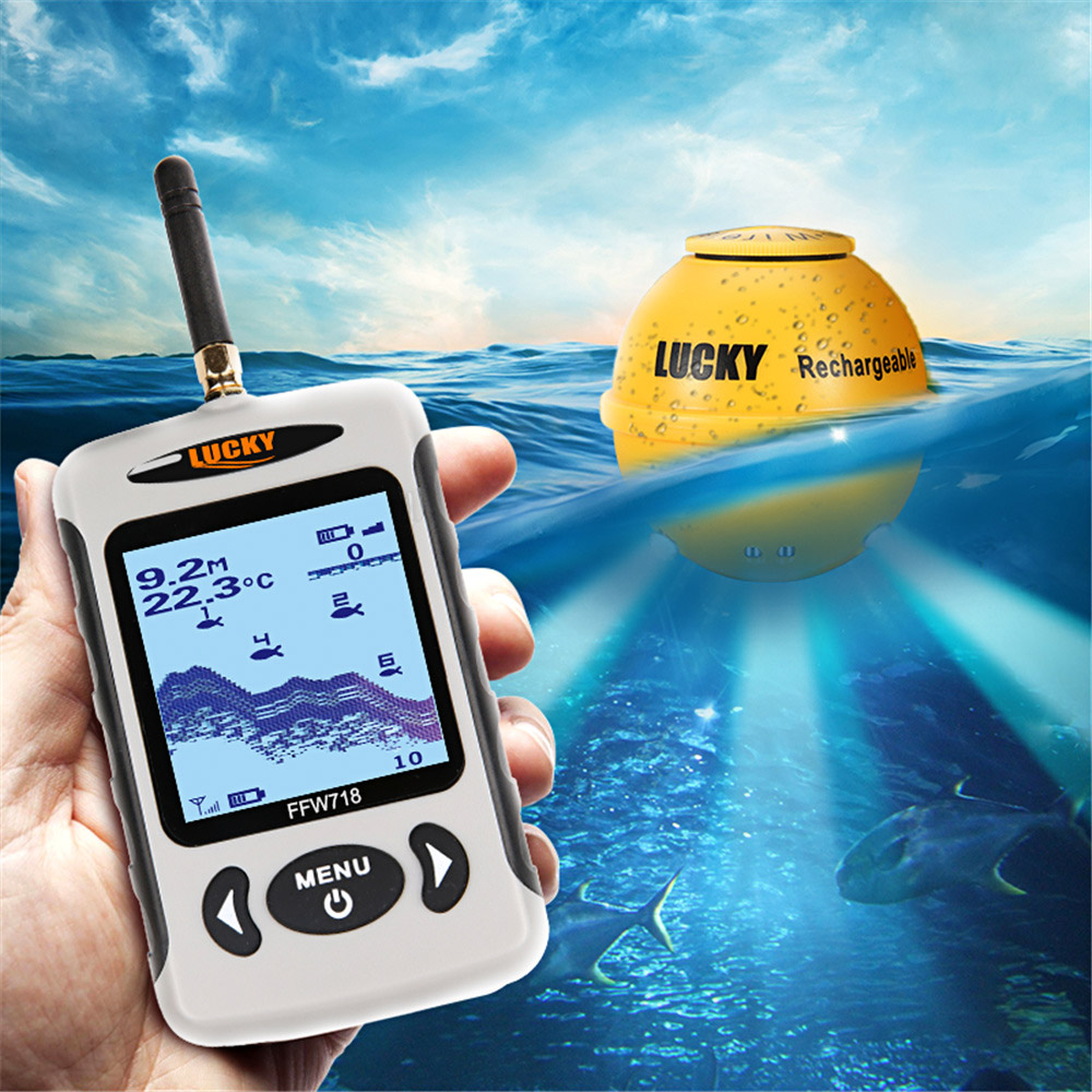 LUCKY FFW718LA Wireless Sonar Portable Fish Finder 45M/135FT Depth Sounder Alarm Fishfinder Fish Ocean River Lake Fishing Pesca portable fish finder bluetooth wireless echo sounder underwater bluetooth sea lake smart hd sonar sensor depth