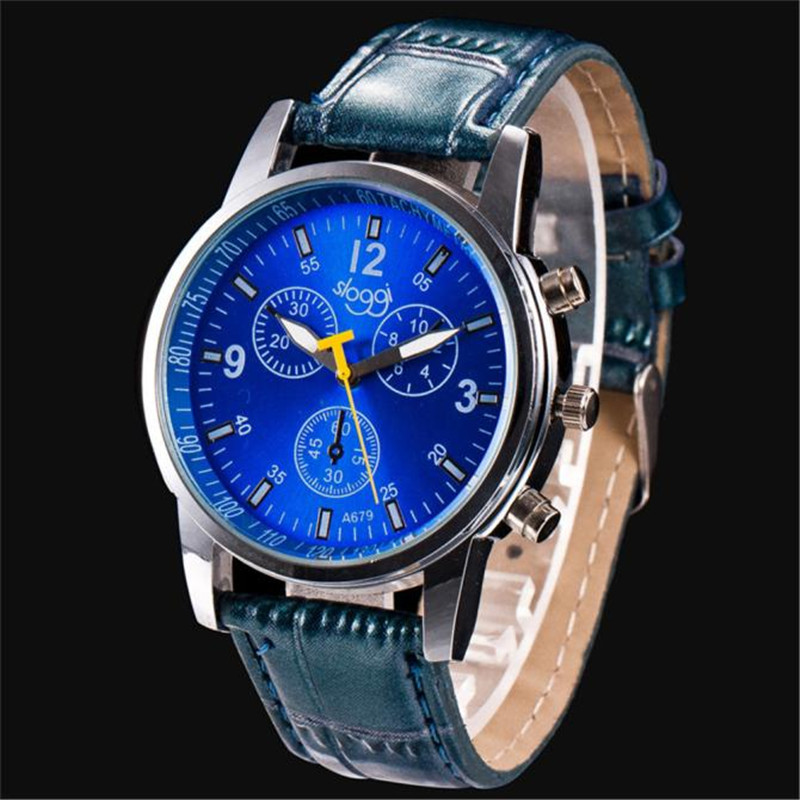 Novel Design New Man Fashion Crocodile Faux Leather Mens Analog Watch Relojes Hombre Blue PU Leather Watches Dropshipping
