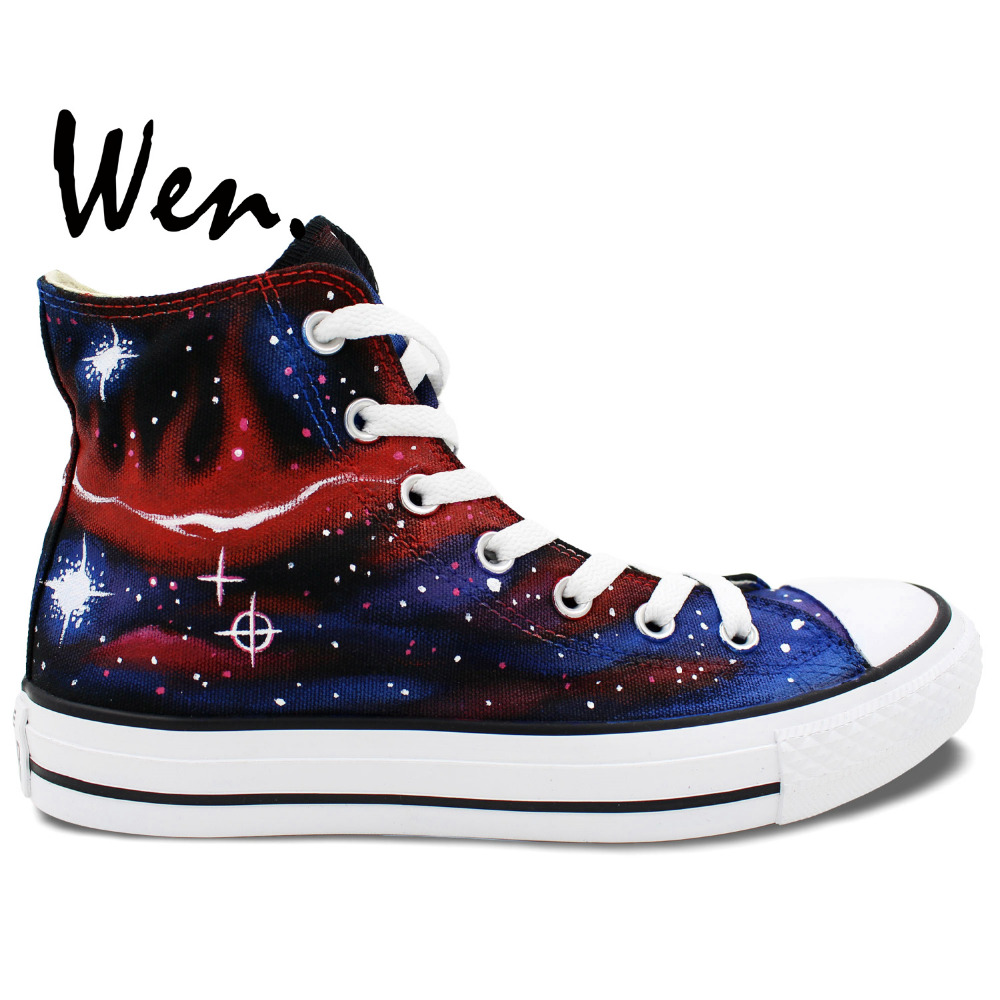 ФОТО Wen Original Hand Painted Shoes Design Custom Galaxy Starlight Red Feathery Shape Women Men's High Top Canvas Sneakers