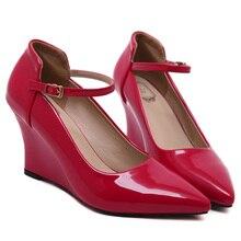 ผู้หญิงรองเท้า2016ใหม่8เซนติเมตรผู้หญิงปั๊มแหลมนิ้วเท้ารองเท้าส้นสูงเวดจ์แพลตฟอร์มรองเท้าส้นสูง