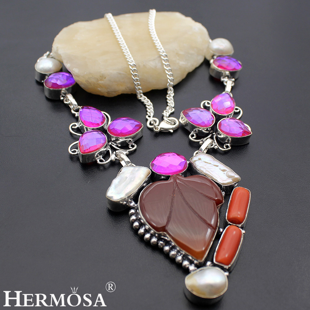 HERMOSA Jewelry Unique CARNELIAN BIWA PEARL RED CORAL DICHROIC 925 Sterling Silver Women Necklace 17 inches HM155