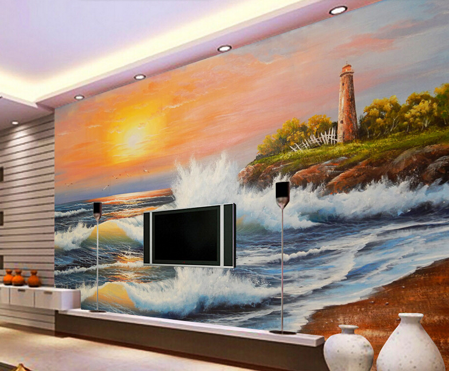 Custom vintage wallpaper, seascape oil painting, 3D mural for living room bedroom TV backdrop waterproof wallpaperCustom vintage wallpaper, seascape oil painting, 3D mural for living room bedroom TV backdrop waterproof wallpaper