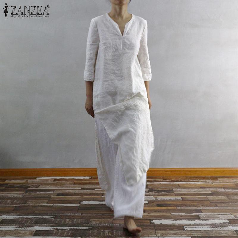 ZANZEA 2019 Vintage Women Long Maxi Dress Summer Sundress Sexy Side Split Vestidos Casual Cotton Long Shirts Tunic Robe Femme