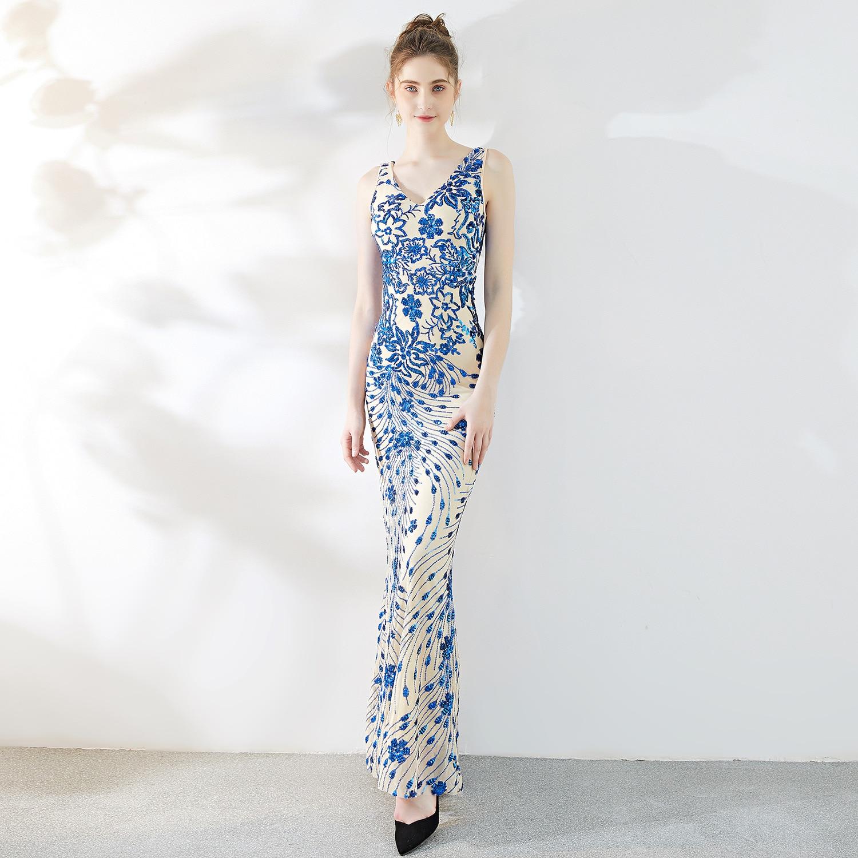 Bleu paillettes profonde col en V sans manches sirène femmes mode élégante robe de soirée Cocktail Sexy Clubwear d'été longues robes de luxe