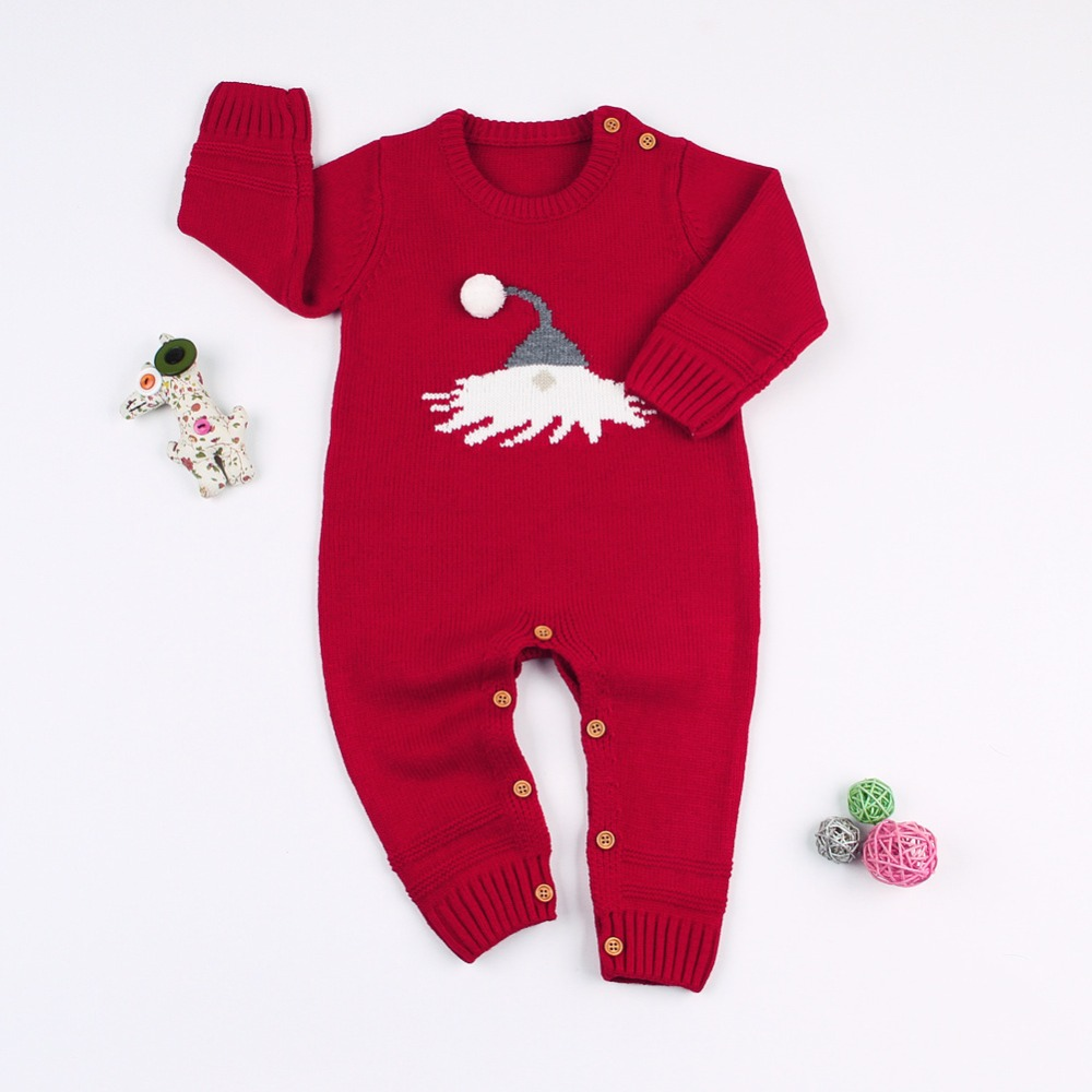 a29ab32fd Baby Boys Rompers Winter Newborn Christmas Girls Jumpsuits Cartoon Knitted Long  Sleeves Infant Overalls Toddler One Piece 6-24M