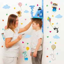 Lovely Giraffe Elephant Height Measuring Scale Removable Wall Sticker Child Measurement Stickers