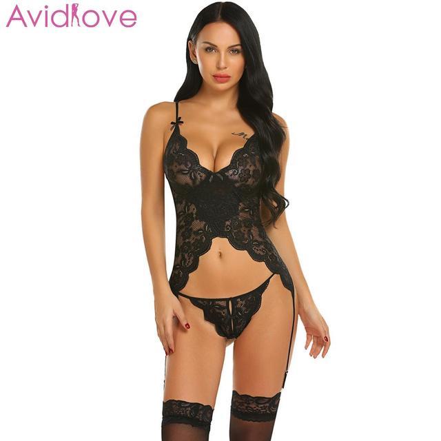 9f86404c32 Avidlove Women Sexy Costumes Sets Sexy Lace Lingerie Chemise with Garters  Nightwear lenceria femenina