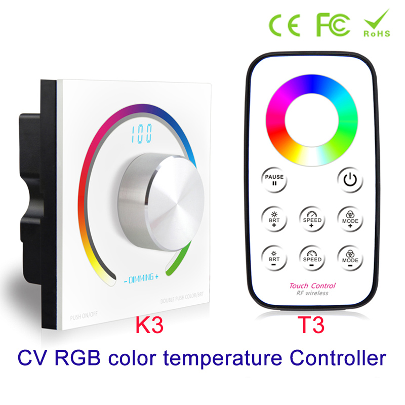 NEW CV RGB Rotary controller DC 12V 24V RGB panel controller RF Wall Mount Wireless remote control for 5050 3528 RGB Led Strip ac220v led strip controller 5050 rgb led strip controller 24 keys wireless rf remote control 30meter control for rgb led strip
