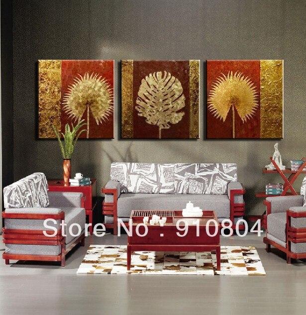 Framed 3 Panel Large Decorative Flowers Unique Gift Gold Oil Painting Piece Canvas Art Pictures L1968 - 99$ store