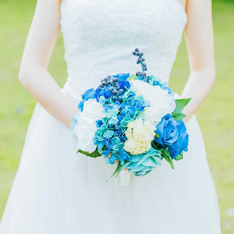JaneVini โรแมนติกงานแต่งงานสีฟ้าดอกไม้เจ้าสาวช่อดอกไม้ Handmade Silk Rose Brides ดอกไม้ Bouquet De Mariage Artificiel