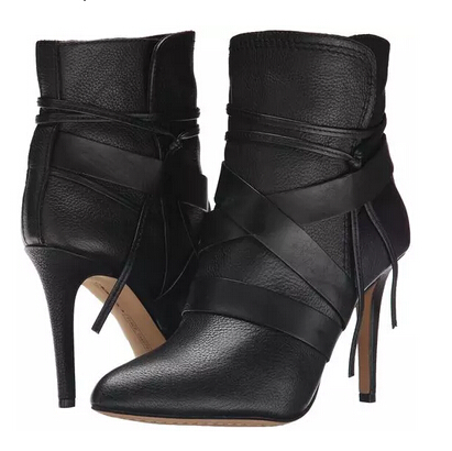 Pointy toe high heel woman leather short boots sexy black ankle wrap winter shoes woman women lace-up ankle bootie free shi 1pc black women hairagami hair bun updo fold wrap