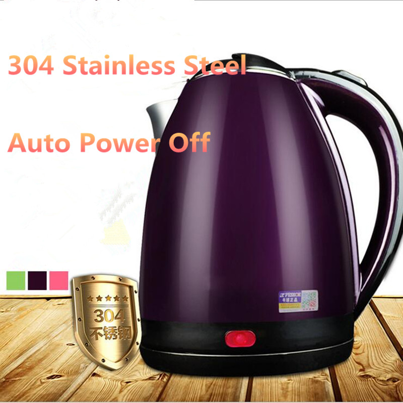 2L 220V Stainless Steel Safety Auto-Off Function Quick Heat Electric Kettle Household  Electric Boiling Pot EU/AU/UK Plug 220v household 1 2l electric kettle food grade 304 stainless steel inner anti scald material fast boiling eu au uk plug