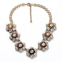 Luxury Jewelry 2014 Resin Glass Zinc Alloy Office Lady Favorite Gorgeous Flashing Rhiestone Flower Collar Necklace