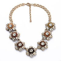 Luxury Jewelry 2014 Resin Glass Zinc Alloy Office Lady Favorite Gorgeous Flashing Rhiestone Flower Collar Necklace