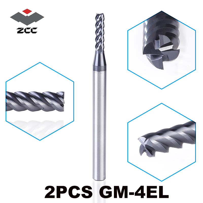 2PCS/LOT ZCC.CT GM-4EL D3.0-D6.0 Solid Carbide 4 Flute Flattened End Mills With Straight Shank Milling  Slotting End Mill Bit