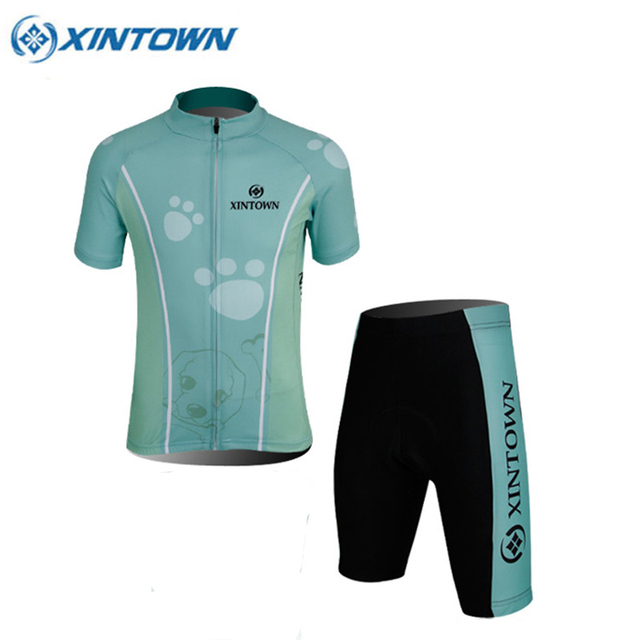 XINTOWN Children Bike Cycling Jersey Set Outdoor Sportswear Breathable New  Bicycle Roupa Ciclismo Cycling Clothing Green b979da890
