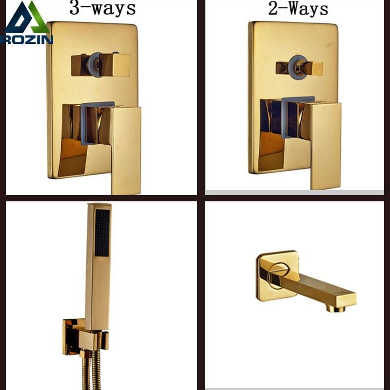 Φ_ΦGolden Brass Shower Mixer Valve In Wall Concealed Install 2-3 ...