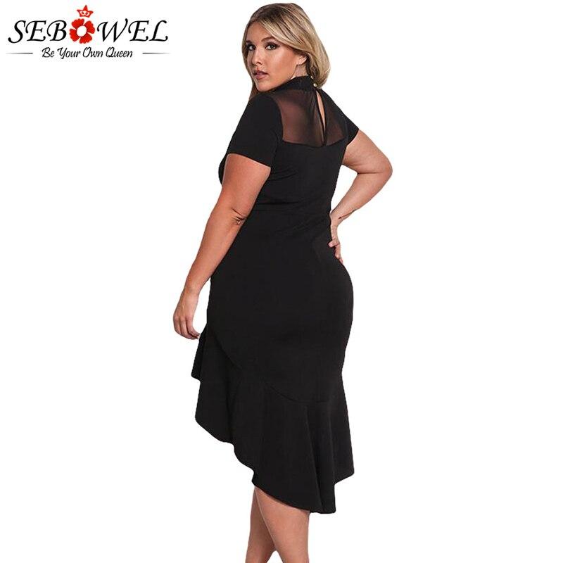 SEBOWEL Plus Size Sexy Schwarz Mesh Club Kleid Frauen Sexy Kurzarm - Damenbekleidung - Foto 2