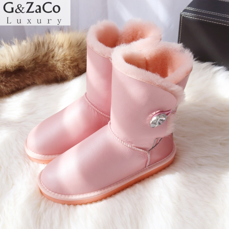 G&Zaco Classic Natural Sheepskin Snow Boots Middle Calf  Wool Sheep Fur Button Boot Winter Flat Genuine Leather Snow Boots