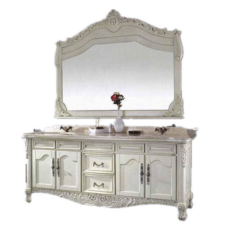 White antique double sink bathroom vanity in bathroom vanities from home improvement on for Antique white double bathroom vanity