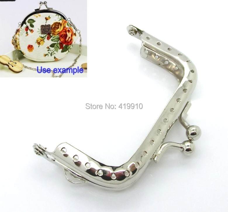 Free Shipping-5pcs Silver Tone Metal Frame Kiss Clasp For Purse Bag Lock Handle DIY Handmade 6.8x5.2cm J2586